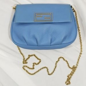 Fendi Cornflower Blue baguette w/chain strap